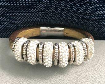 Gold Swarovski Crystal Leather Bracelet