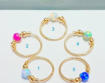 Helix Earring- Opal Cartilage Earring -Gold Filled Cartilage Hoop- Septum- Helix- Tragus- Opal Helix Hoop- 16-22 Gauge- 7-12mm Inner Dameter