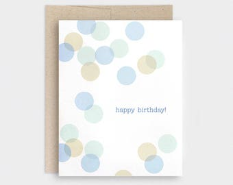 Birthday Card For Him - Confetti Bokeh, Recycled Happy Birthday Card - Green, Moss, Blue - For Dad