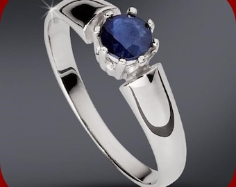 Solitaire Engagement Anniversary Ring 100% Sapphire Made to Order in White 14k Gold