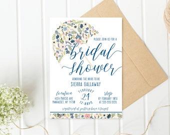 Bridal Shower Invitation, Umbrella Bridal Shower Invite, Pretty Bridal Shower Invite, Printable Bridal Shower Invite, Floral Shower [717]