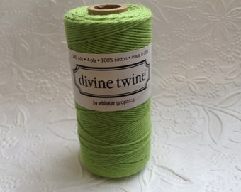 Solid Green Bakers Twine 240 Yards Spool-Divine Twine-Cotton-4 ply-Biodegradable