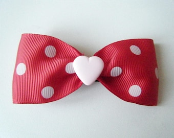 ♥ Barrette with red dots and heart pink ♥