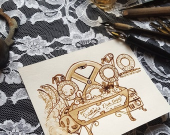 The Scullery Maid's Help - Devices Series - Original Sepia Steampunk Invention Art