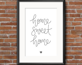Home sweet home - A4 hand lettered print