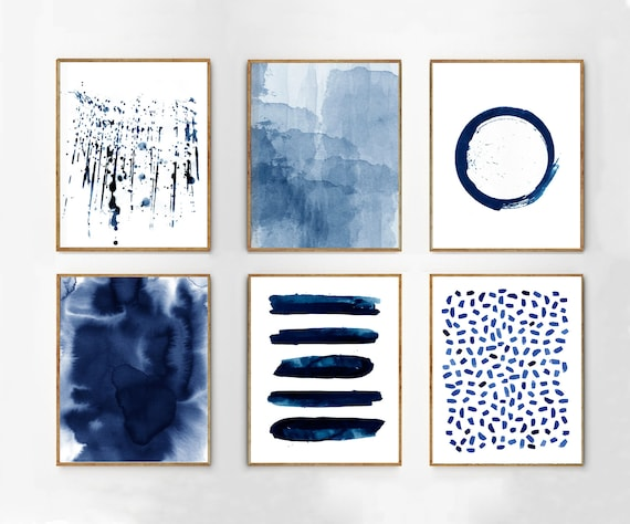 Abstract Watercolor Prints Set of 6 Blue Wall art Minimalist