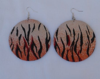 African Animal Print Fabric Textile earrings