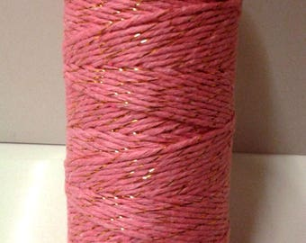 Pink string with border-gold 100 m spool - T4