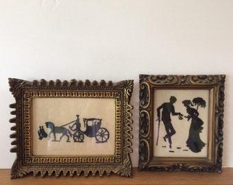 Vintage Man Woman Silhouette Print Horse Carriage Silhoutte Print Gold Wood Frames Pair Silhouette Prints