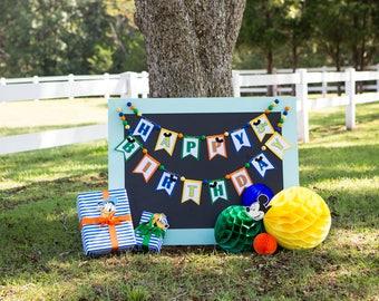 HAPPY BIRTHDAY Banner / 1st birthday boy banner / Oh twodles / 2nd Birthday boy banner / Baby shower banner / 1st birthday boy / Mickey