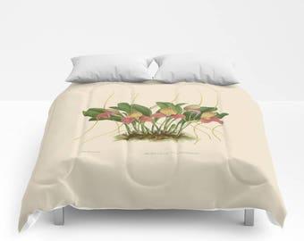 Botanical Illustration Duvet Cover or Comforter - Orchid, Beige, Green, Plant, Bedroom, Home, Boho, Hippie, Sham, Nature, Gift, Christmas