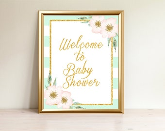 Mint&Gold Welcome to Baby Shower sign, Printable Welcome sign, Printable Sign, Welcome to baby shower, Baby shower decorations, Mint-001