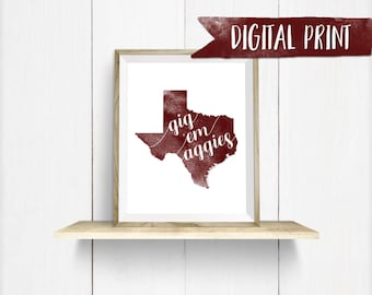 "Texas A&M ""Gig 'Em Aggies"" watercolor print, Printable Wall Decor, Digital Print"