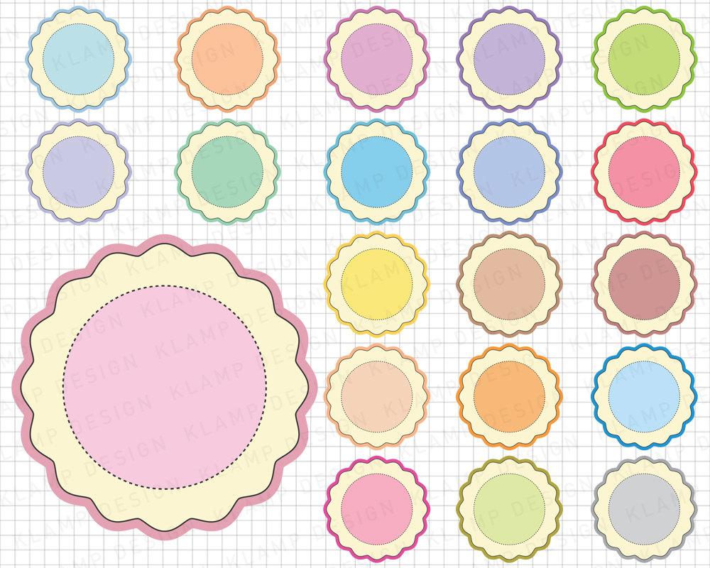 Festoneado de etiquetas imprimibles círculo gráfico de Marco