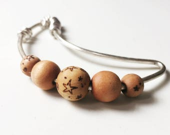 Moon & Stars Rattle - Silver and Wood Baby Teether