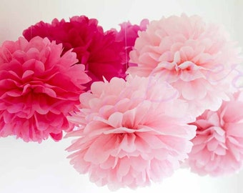 Paper Pompom 22 flower balls/ tissue paper/ wedding decoration/ party/ events/ decoration/ pom pom/ baby shower