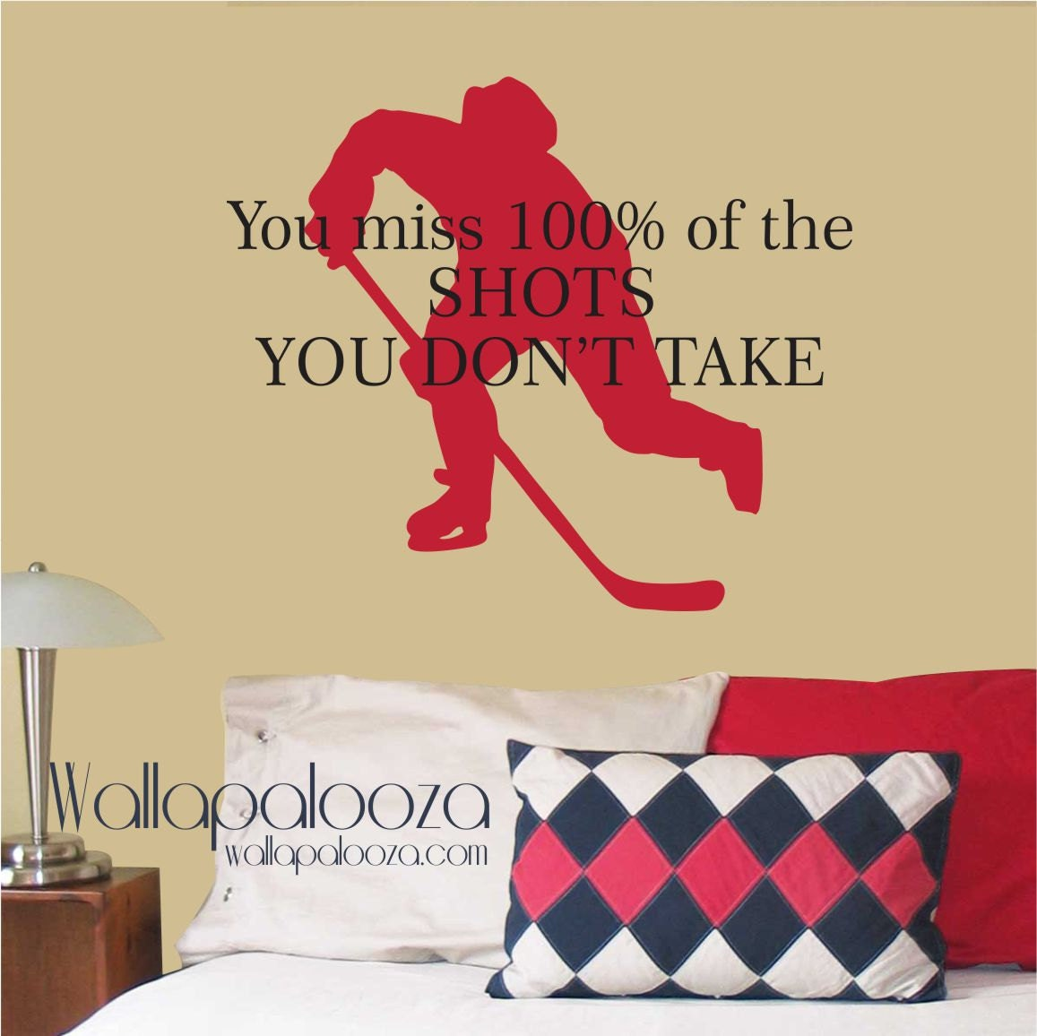 Hockey Wall Decal WAYNE GRETZKY\'S Quote You miss 100