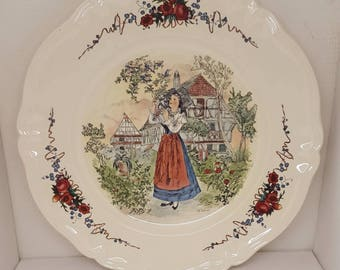 Large old vintage french country plate of scale with flowers. Dish with scene and floral decor