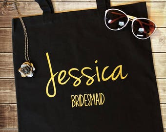 Customized Bridesmaid Tote - Personalized Canvas Tote - Weddings