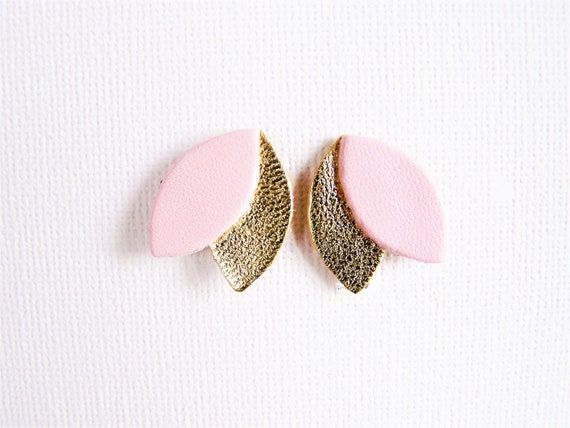 Pink and gold leather earrings