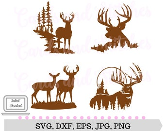 Deer Silhouettes SVG - Deer SVG - Digital Cutting File - Silhouette Cut - Vector File- Instant Download - Svg, Dxf, Jpg, Eps, Png