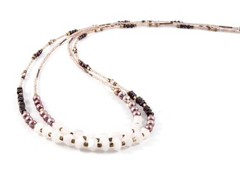 Long, two-strand, dressy, gemstone and pearl necklace / Beaded necklace with rose quartz, garnet, pearls, Swarovski crystals & brass beads