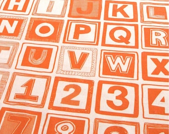 ABC One Piece Fabric Pack, Hand Printed in Orange