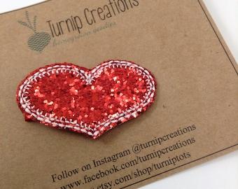 Heart Hair Clip Valentines Day Felt Red Hair Clip Glitter  Girls Hair Clip  White Hairclip