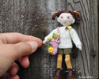 Little Girl Crochet Doll with Bag and Miniature green Teddy Bear, Gift for Teenager, Woman, Micro Knitted Sweater, Childhood Collectable Art