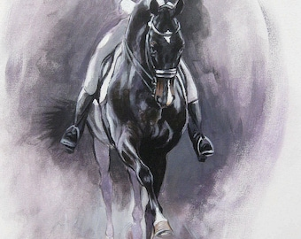 Original dressage acrylic painting equine art horse art wall art 'Dance III' impressionism painting horse lover gift by H Irvine