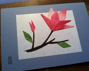 Handmade Origami Magnolia Flower Greeting Card