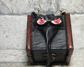 Desk Organizer Trinket Dice Mimic Dice Box Small Storage Treasure Chest Stash Black Leather  Gamer MTG Card Box 266