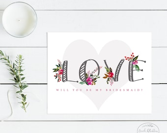 WILL YOU BE My Bridesmaid Card Valentine's Day Card for Friend Personalized Notecards Red and Pink Thank You Card Floral Stationery Set