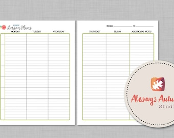 Printable 8 Subject / Assignment / Weekly Lesson Plan Planner - 2 Page - Watercolor Rose
