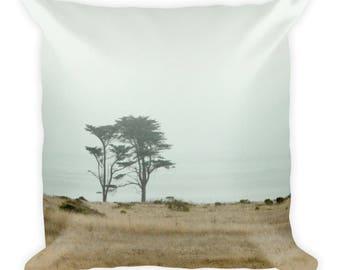 California Coastline - Decorative Accent Square Pillow Case, Home Decor, 18 x 18 in - couch sofa accent, misty beach, foggy seaside, gray