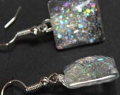 Silver holographic glitter earrings nail polish jewelry square dangle style ear wires