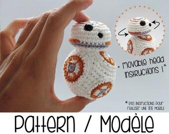 Pdf PATTERN : BB8 droid with movable head - BB-8 Star Wars robot crochet amigurumi pattern - BB 8 Force Awakens star wars crochet pattern
