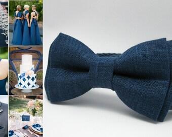 Blue Linen bowtie. Men's bowtie. Wedding bowtie. Boys bowtie. Kids bowtie. Newborn bowtie. Gift. Photo shoot