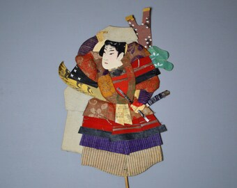 1800's Antique Oshie Japanese Silk Kimono Doll Seated Samurai Oshi-e Okiage Ningyo 25