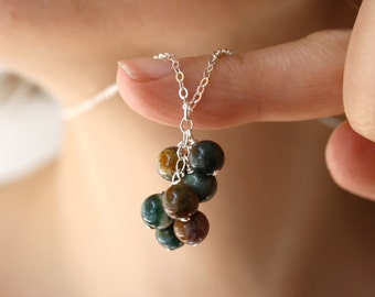 Bloodstone Necklace . Bloodstone Pendant Necklace Silver . Alternative March Birthstone Jewelry . Natural Gemstone Necklace