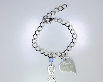 Personalized Colon Cancer Awareness Ribbon Bracelet - Support, Survivor, Memorial Jewelry - Heart Charm with Your Personalized Message