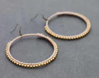 Nude Simple Hoop Woven Earrings