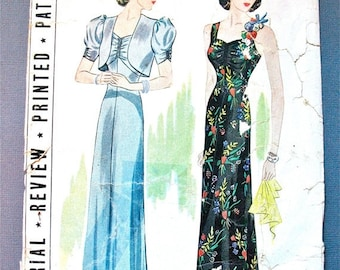 Spring Sale 1930s Evening Gown Pattern by Pictorial Review 9141 Vintage Sewing 30s Dress Pattern 1930s Bolero Jacket  Bust 36 inches