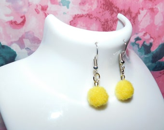 Yellow Pom Pom earrings/Pom Poms/yellow earrings/yellow Pom Poms/handmade earrings/gift/Pom Pom earrings/boho/yellow/handmade/earrings
