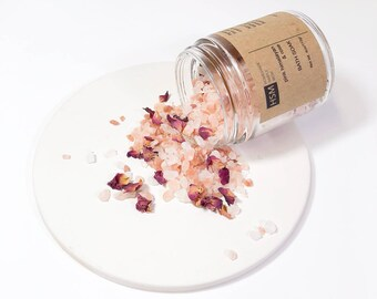 Bath Salts, Himalayan bath soak, rose bath salt gifts, birthday gifts ideas, gift for her, Mothers Day gift, bath salt favors