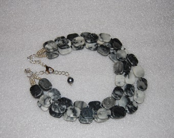 Gray Marble Statement Necklace Multi Strand Marbles Stone Beaded Necklace Chunky Bold necklace Bride
