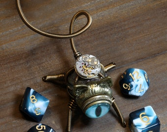 Steampunk Cat Sculpture with blue eye Dice Buddy