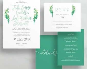 Simple Floral Watercolor Wedding Invites / Bright Green Sprigs / Hand Lettering / Semi-Custom Wedding Invitation Suite / Printed Invitations