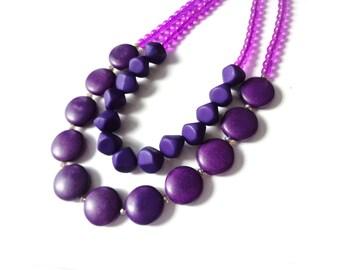 purple necklace double strand gemstone necklace