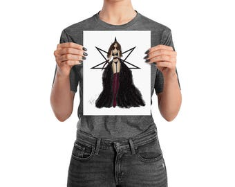 RAVEN ANGEL Fashion Couture Illustration Poster